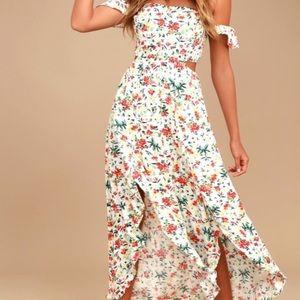 Lush off the shoulder floral cutout maxi dress